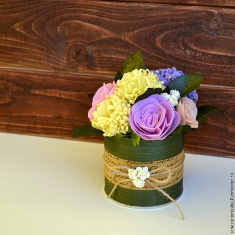 Интерьерный букет цветов из фетра