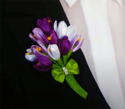 Цветы из атласных лент, идеи и фото