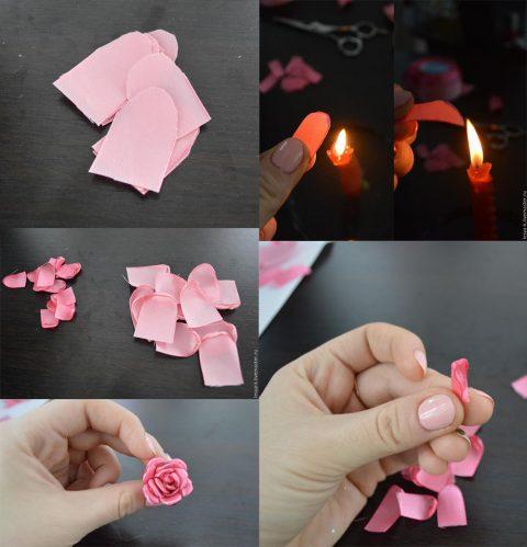 Делаем маленький цветок из атласных лент