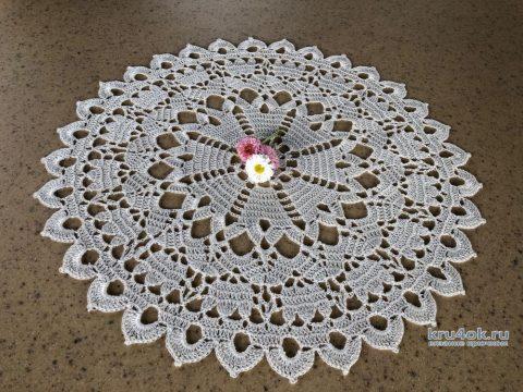 Интересная салфетка крючком Весна. Работа Надежды Борисовой вязание и схемы вязания