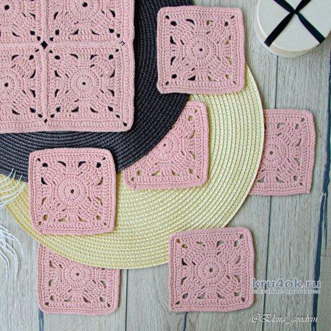 Квадратный мотив крючком или подставка под горячее. Работа Елены Хорошавиной вязание и схемы вязания