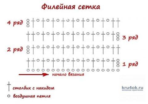 схема вязания простой филейной сетки