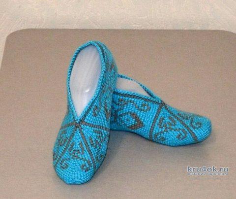 Носочки - следочки связанные тунисским крючком. Работы Светланы