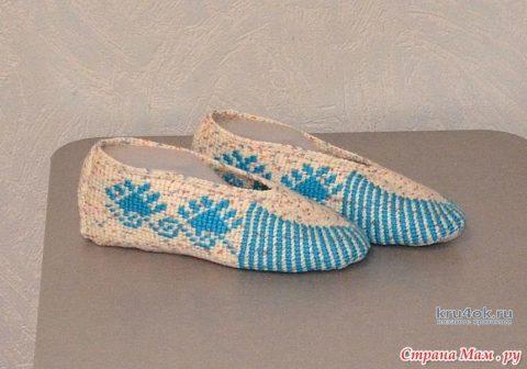 Носочки - следочки связанные тунисским крючком. Работы Светланы вязание и схемы вязания