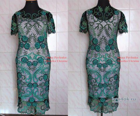Платье Малахитовый цветок связано в технике ирландского кружева