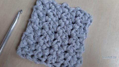 Простой узор крючком из трикотажной пряжи, видео-урок вязание и схемы вязания