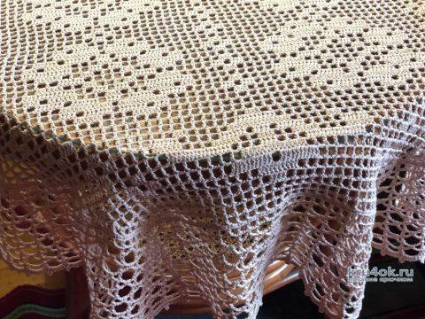 Салфетка - дорожка в технике филейного вязания. Работа Надежды Борисовой вязание и схемы вязания