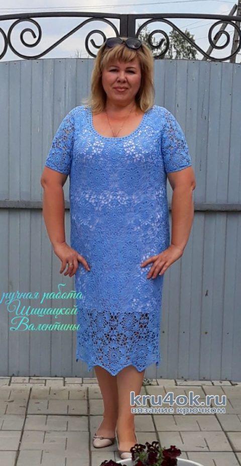 Женское платье крючком Незабудка. Работа Валентины Шишацкой вязание и схемы вязания