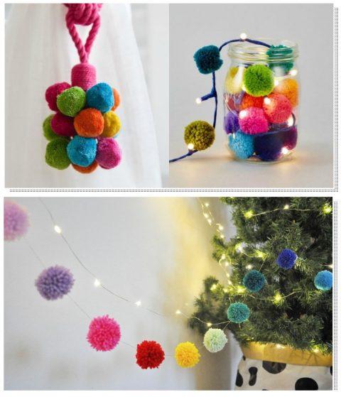 новогодние украшения из помпонов