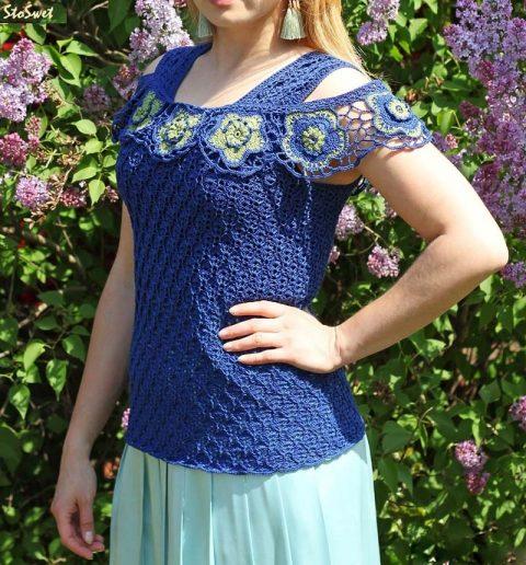 Блуза крючком Синий лен