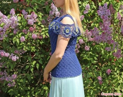 Блуза крючком Синий лен 0