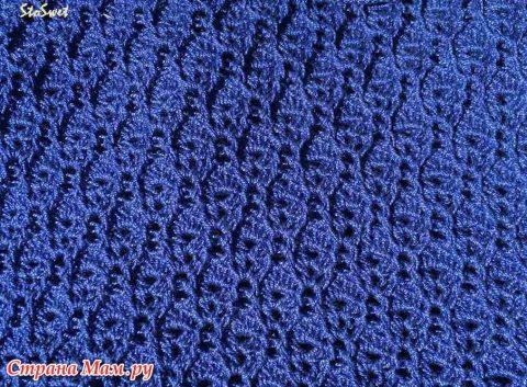 Блуза крючком Синий лен 1