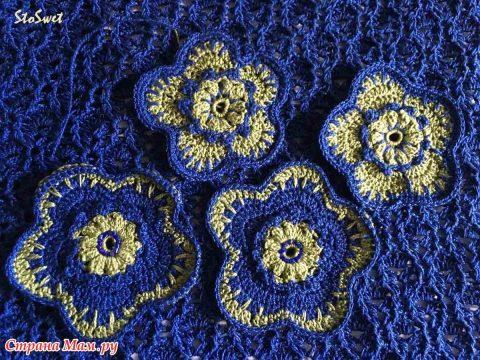 Блуза крючком Синий лен 4