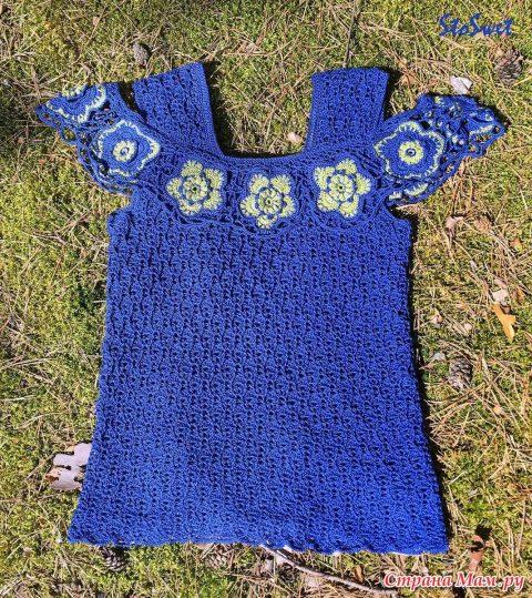 Блуза крючком Синий лен 6