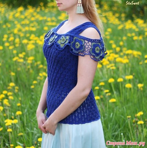 Блуза крючком Синий лен 9