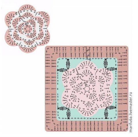 схема вязания мотива для подушки крючком