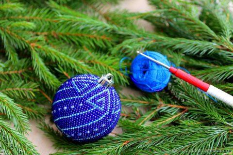 Новогодний шарик с бисером, мастер - класс!