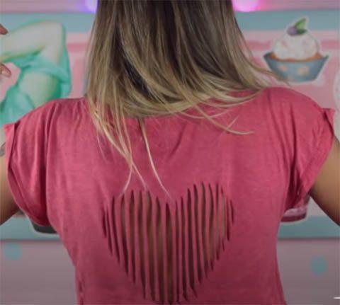Переделка старой футболки - вырез в виде сердца