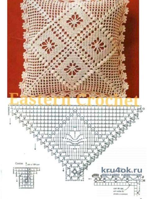 Интерьерные подушки, связанные крючком. Работы Галины Коржуновой вязание и схемы вязания