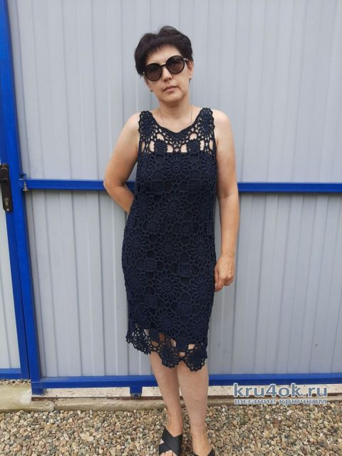 Платье из мотивов, связанное крючком. Работа Светланы Лучик вязание и схемы вязания