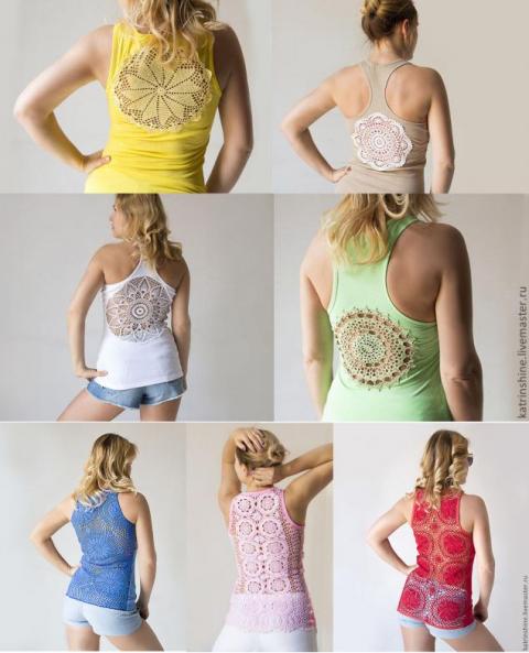 Как сделать ажурную спинку на майке или футболке