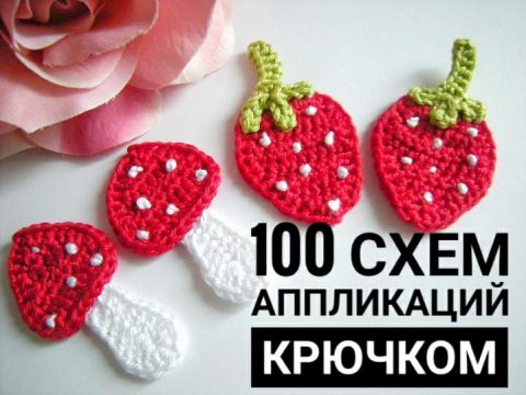100 схем аппликаций крючком