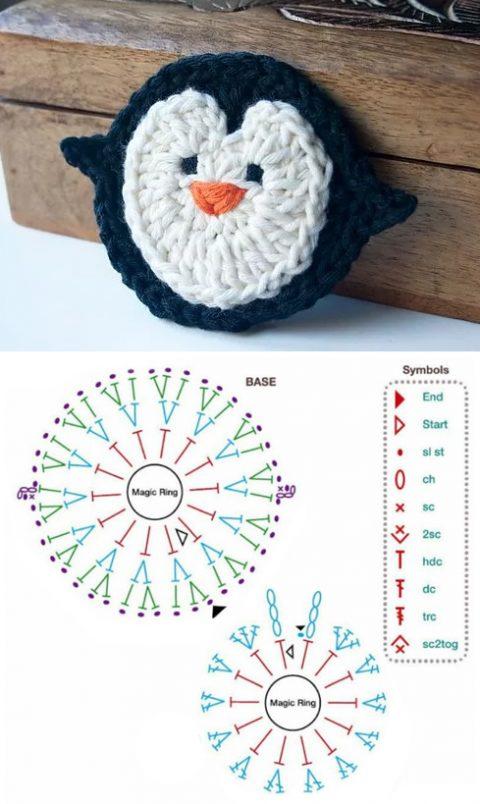 схема аппликации пингвин