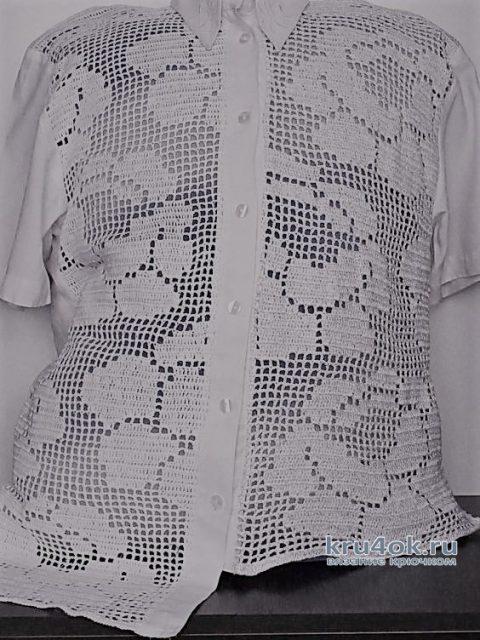 Комбинированная блузка. Работа Аллы вязание и схемы вязания