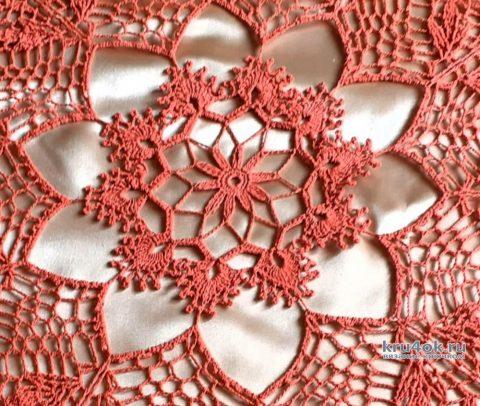 Круглая ажурная салфетка крючком. Работа Маргариты вязание и схемы вязания
