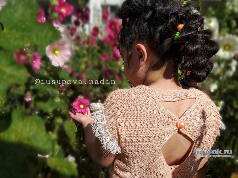 Вязанный топ для девочки. Работа Надежды Юсуповой вязание и схемы вязания