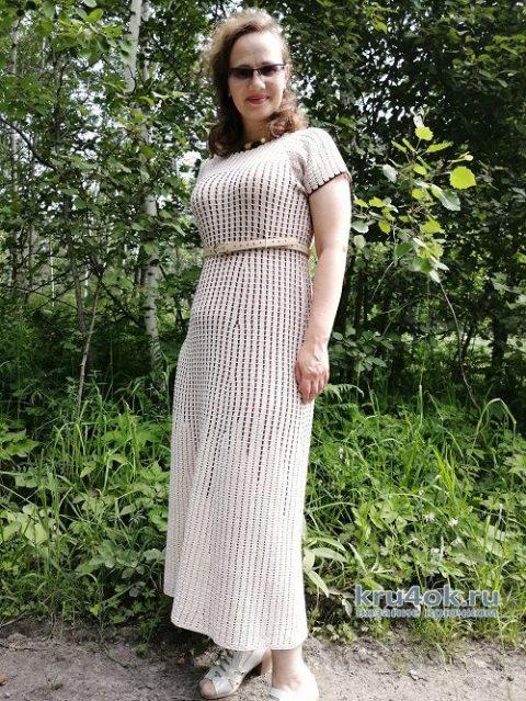 Женское платье крючком. Работа Таисии вязание и схемы вязания