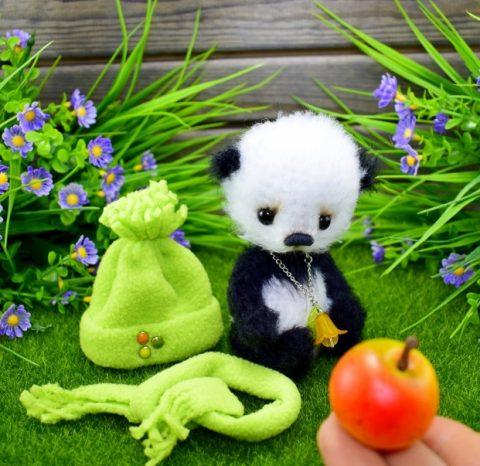 Пушистая панда (пандочка) крючком, бесплатное описание