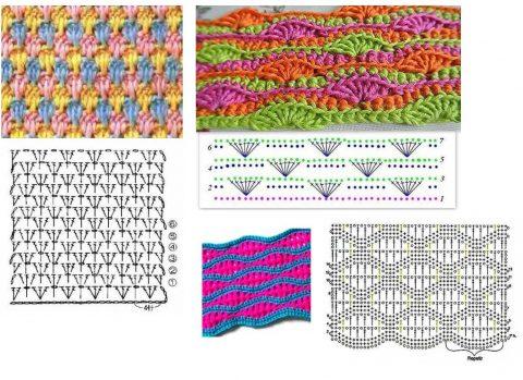 Разноцветные плотные узоры, связанные крючком