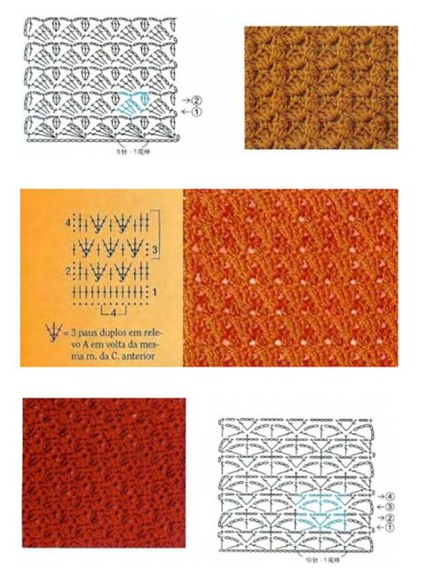 120 схем вязания плотных узоров крючком