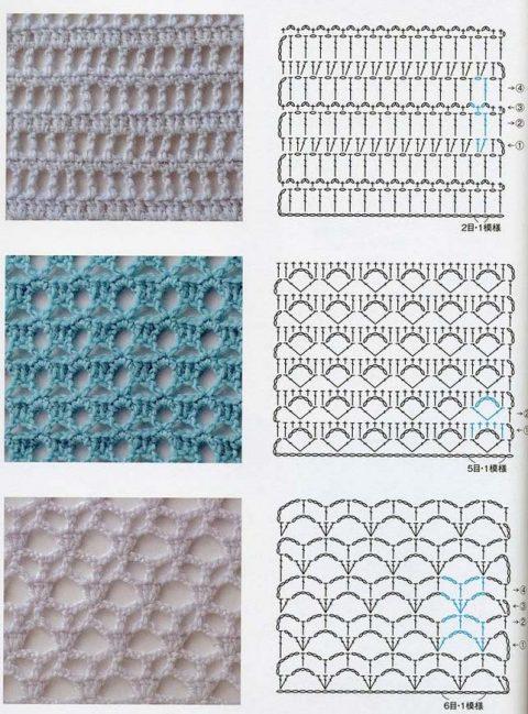 Схемы простых ажурных узоров крючком