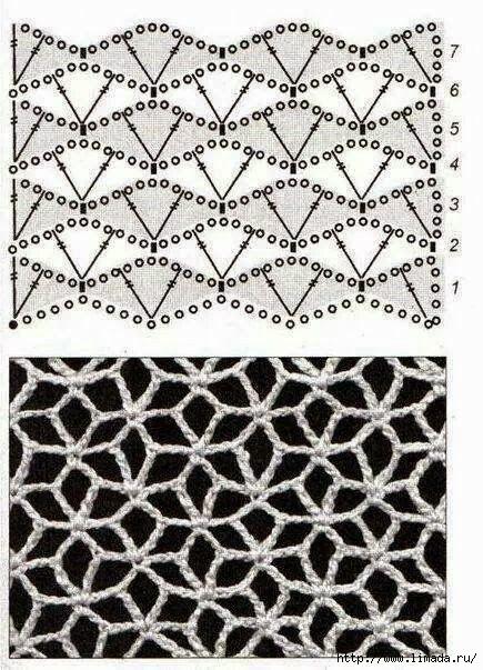 Простые сетчатые узоры крючком, схемы вязания
