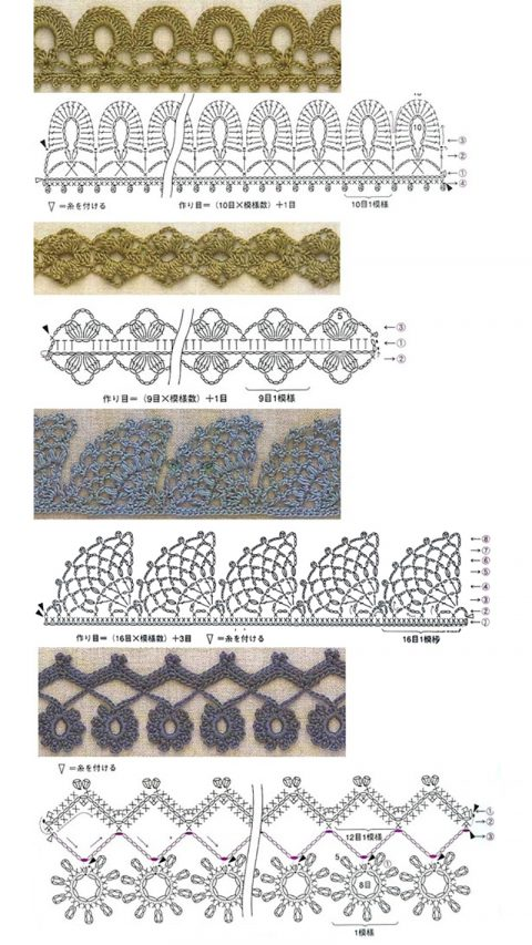 Схемы вязания каймы и обвязки крючком