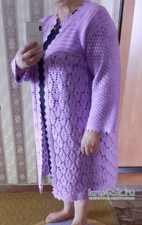 Пальто для прохладного лета связанное крючком. Работа Альбины Ваниной вязание и схемы вязания