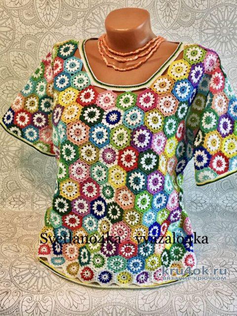 Разноцветный топ Калейдоскоп из мотивов. Работа Светланы svetlano4ka_vyazalo4ka вязание и схемы вязания