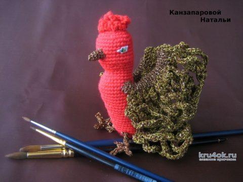 Жар-птица - игрушка, связанная крючком. Работа Канзапаровой Натальи вязание и схемы вязания