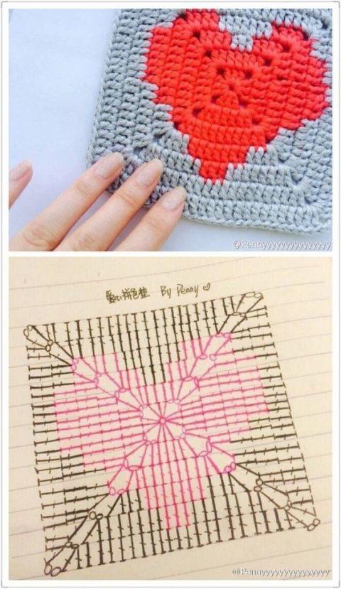 квадратный мотив с сердцем крючком