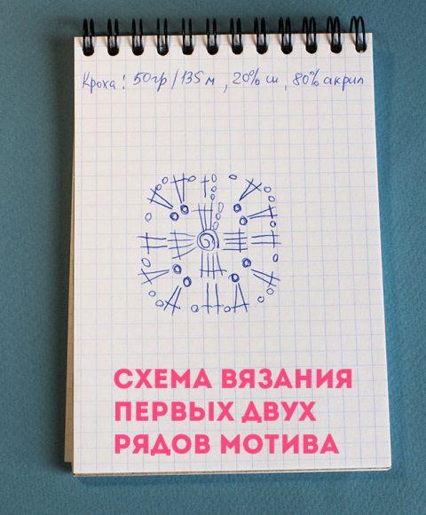Мотив бабушкин квадрат со скрещенными столбиками