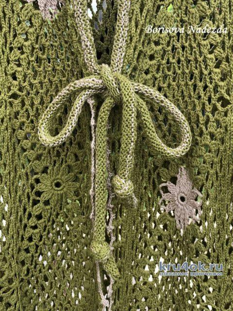 Ажурный кардиган Зеленая поляна. Работа Надежды Борисовой вязание и схемы вязания