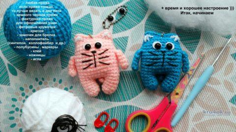 Как связать крючком простого маленького котика вязание и схемы вязания