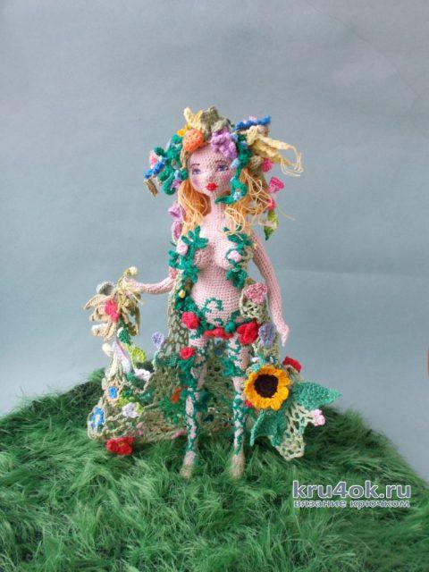 Кукла Флора, связанная крючком. Работа Людмилы Алексеевой