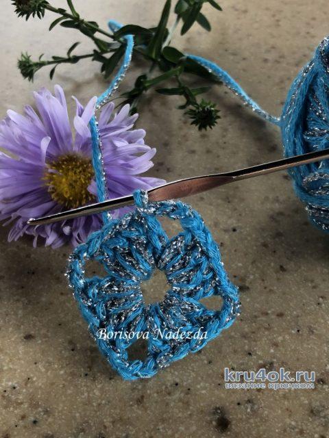 Подставка под горячее, связанная крючком. Работа Надежды Борисовой вязание и схемы вязания