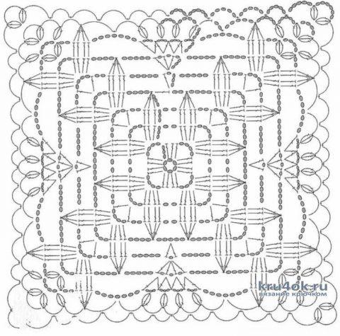 Туника из мотивов Цветок в квадрате. Работа Еленка Обычные дела вязание и схемы вязания
