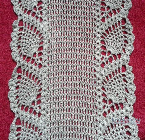 Вязанный крючком шарф с узором ананас. Работа Галины Коржуновой вязание и схемы вязания