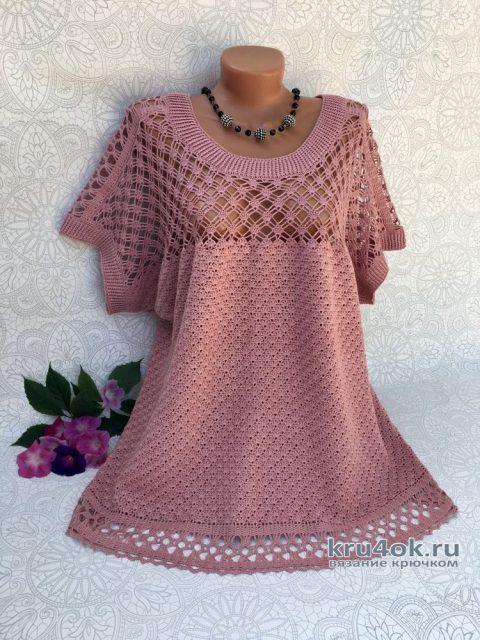 Женская блузка крючком. Работа Светланы svetlano4ka_vyazalo4ka вязание и схемы вязания