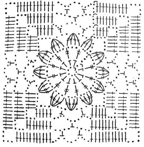 квадратный мотив для сарафана крючком